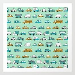 Cars trucks buses city highway transportation illustration cute kids room gifts Art Print