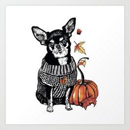 Autumn Chihuahua dog with pumpkin Art Print