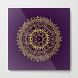 Harmony Circle of Gold on Purple Metal Print