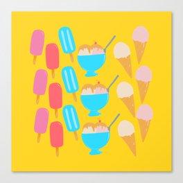 Frozen Treats Print Yellow Canvas Print