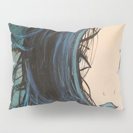 Blue and Black Hair Girl Mermaid Painting by Jodi Tomer. Figurative Abstract Pop Art. Pillow Sham