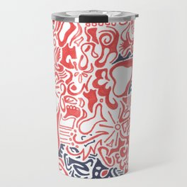 Orange and Blue Line Art Travel Mug