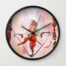 Circus Monkey On Tightrope Wall Clock