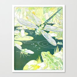 Nature Pond scene with a Dragonfly, Frogs & a Hornet by Harrison Cady Canvas Print