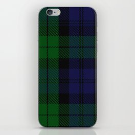chainsaw blue & green - holiday and everyday black blue tartan black watch plaid check iPhone Skin