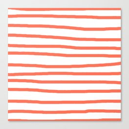 Simply Drawn Stripes in Deep Coral Canvas Print