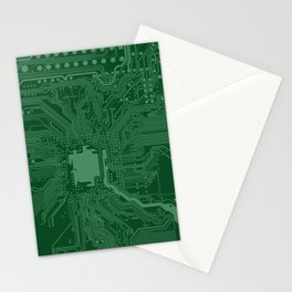 Green Geek Motherboard Circuit Pattern Stationery Cards
