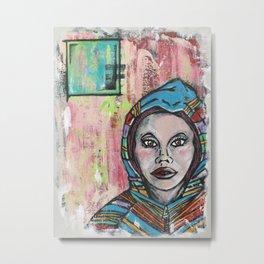 Girl in a Hoodie Metal Print