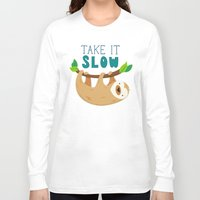 sloth Long Sleeve T-shirts featuring Sloth by Claire Lordon
