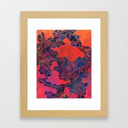 Japanese Stencil Pattern #1 | Floral Watercolor Design in Scarlet Red & Blue Framed Art Print