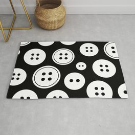 Black and White Buttons Pattern Rug
