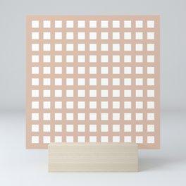 PLAID SERIES Thick Dusty pink grid pattern Mini Art Print