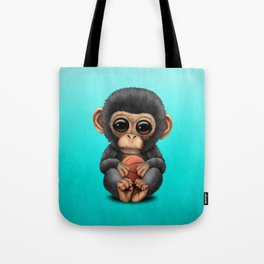 Cute Baby Chimp Playing With Basketball Tote Bag