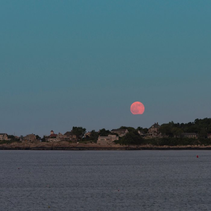 Full Strawberry Moon Rising over Rockport Comforters