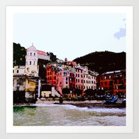 Painterly Vernazza Square Art Print
