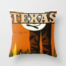 Vintage Texas Travel Poster Throw Pillow