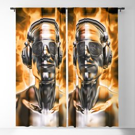 Disco god portrait / 3D render of silver male figure with headphones and disco shades engulfed in fl Blackout Curtain