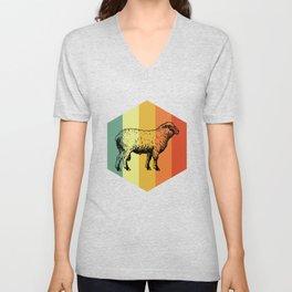 SHEEP Retro Mammal T-Shirt Unisex V-Neck