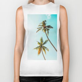 Two Green Tropical Palm Trees Blue Sky Beach Trees Caribbean Vibes Biker Tank