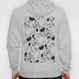 Black white hand drawn wolf floral typography Hoody