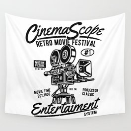 Old movie camera, retro movie festival, for film fans Wall Tapestry