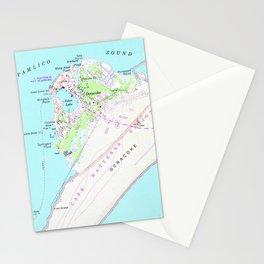 Vintage Map of Ocracoke North Carolina (1948) Stationery Cards