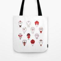 calendar Tote Bags featuring Calendar monsters by Nika Belova