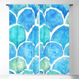 Mermaid Scales Turquoise Blackout Curtain