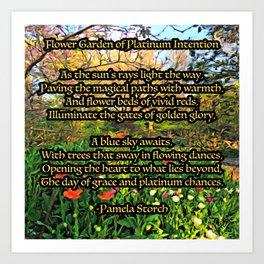 Flower Garden of Platinum Intention Poetry Art Art Print