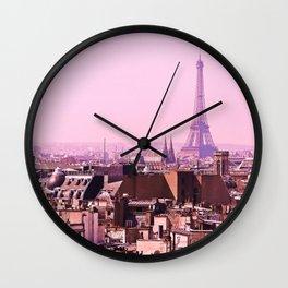 Pink Paris Skyline Wall Clock