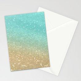 Sparkling Gold Aqua Teal Glitter Glam #1 #shiny #decor #society6 Stationery Cards