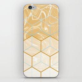 Geometric Effect Caramel Marble Design iPhone Skin
