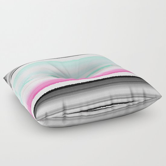 Modern Abstract Pillow : Modern abstract black pink turquoise agate gem stripes pattern Floor Pillow by Girly Trend ...