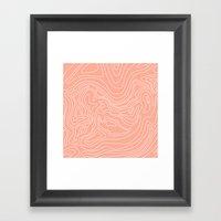 Ocean depth map - coral Framed Art Print