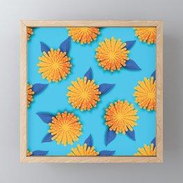 Dandelions on Aqua - Midcentury Style Framed Mini Art Print