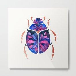 Pink blue and metallic scarab bug Metal Print