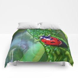Ladybug Leaf   Painting  Comforters