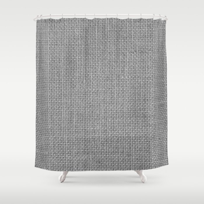 Natural Woven Silver Grey Burlap Sack Cloth Shower Curtain