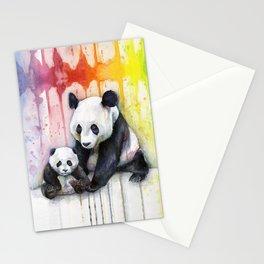 Rainbow Pandas Watercolor Mom and Baby Panda Nursery Art Stationery Cards