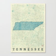 Tennessee State Map Blue Vintage Canvas Print