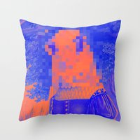 furry Throw Pillows featuring Furry Streets by Tyler Spangler