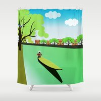 vietnam Shower Curtains featuring Vietnam views by Design4u Studio