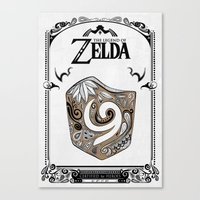 the legend of zelda Canvas Prints featuring Zelda legend - Kokiri shield by Art & Be