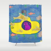 yellow submarine Shower Curtains featuring Purple Cat is in his submarine  by David Abse