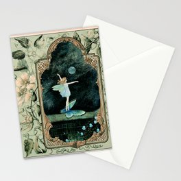 Bubble Romp ~ Altered Ida Rentoul Outhwaite Fairy in Vintage Frame  Stationery Cards