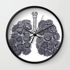 Lungs with peonies Wall Clock