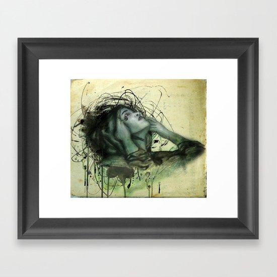 Grunge Goth Lady in a Hood Framed Art Print
