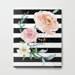 Rose Arrangement on Black Stripes No. 1 Metal Print