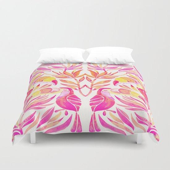 Tropical Toucans – Pink & Melon Ombré Duvet Cover