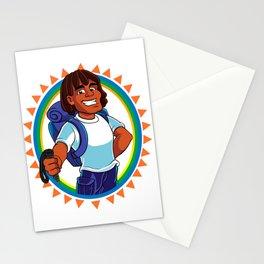 Black Man hiker mascot Stationery Cards